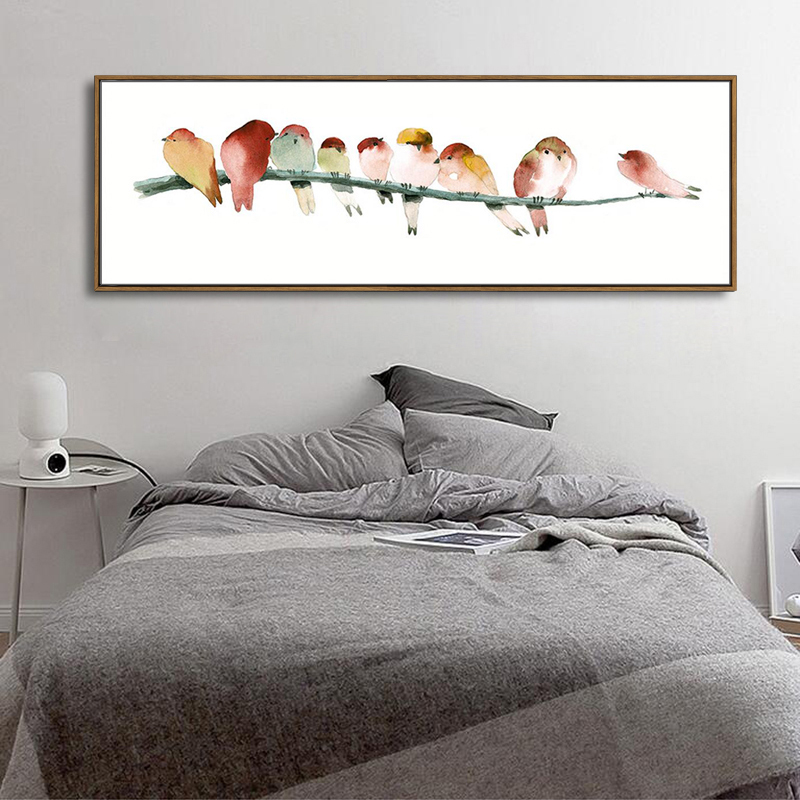 watercolor birds canvas art modern abstract orange bird