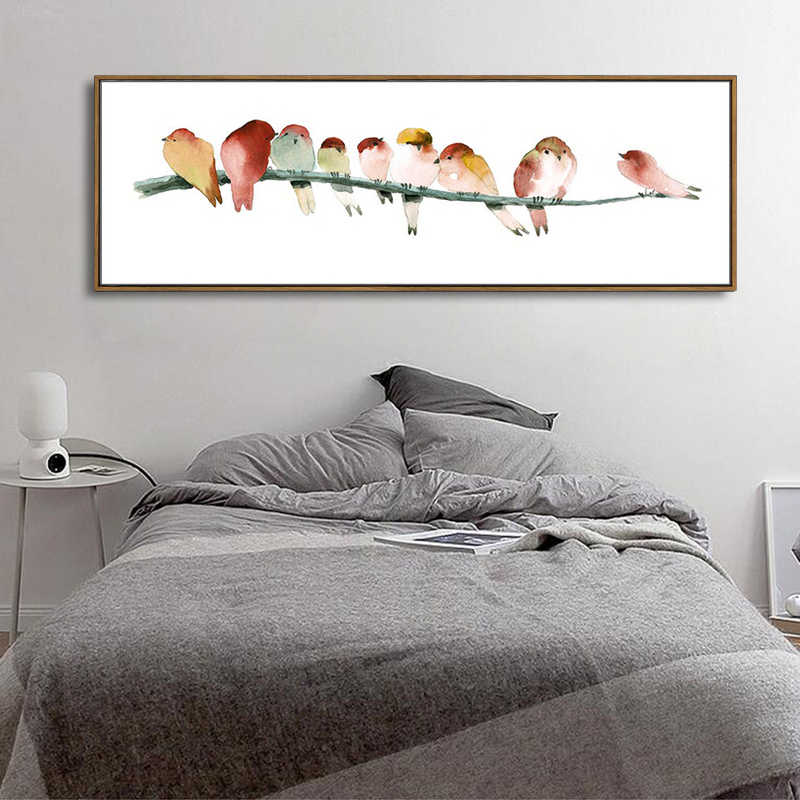 Watercolor Birds Canvas Art Modern Abstract Orange Bird Minimalist Wall Picture Bedroom Decor Prints Poster Large Size No Frame