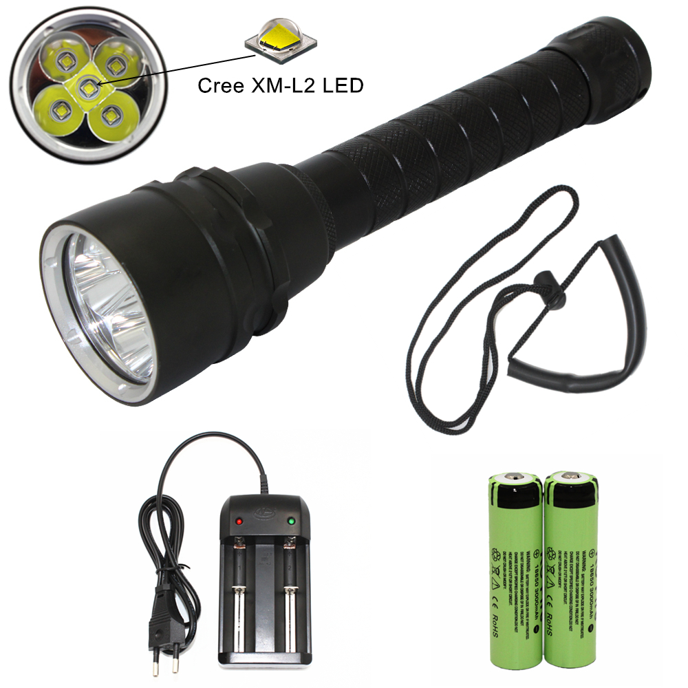 5000 Lumens Diving Flashlight 5x L2 XM-L2 LED 18650 Torch Underwater 60M Waterproof Tactical Flash light Lantern Light boruit 18 xm l2 powerful led flashlight 5 mode portable tactical flash light waterproof aluminum camping hunting torch lanterna