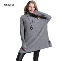 ARCSINX Turtleneck Sweater Women Plus Size 6XL 5XL 4XL XXXL Solid Color Oversized Poncho Women Grey
