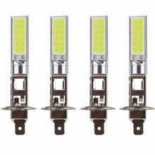 цена на 4pcs DC 12V H1 COB LED Car Fog Light Headlight DRL Daytime Running Light Replacement Bulb Super Bright White Lighting Lamp