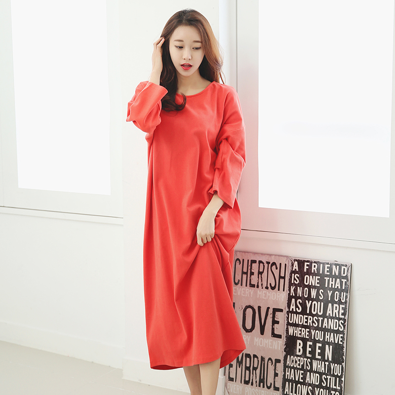 Cute Princess Cotton Long Sleeve Female Nightgown Spring And Autumn