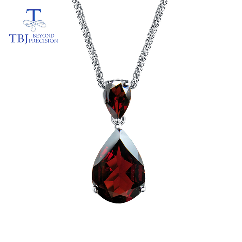 TBJ,new Natural Mozambique Red garnet gemstone water drop pendant in 925 sterling silver jewelry with chains and gift box