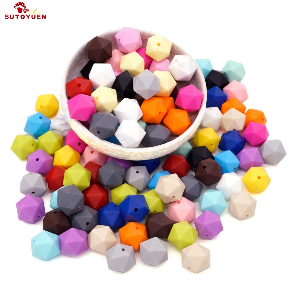 Sutoyuen 240Pcs Geometric Hex Silicone Beads Teether 17mm Baby Chewing Teething Bead for Baby Pacifier Necklace Bracelet Toy