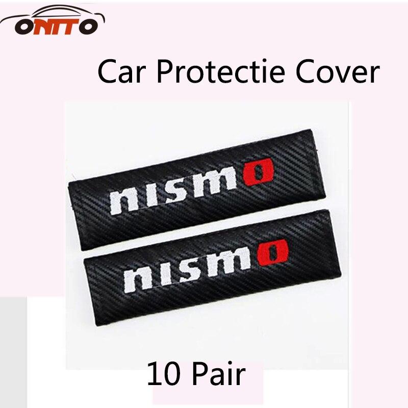 10pair Nismo logo for car styling auto accessories Car seat belt shoulder sleeve Carbon fiber Cover Shoulder Pad seat belt