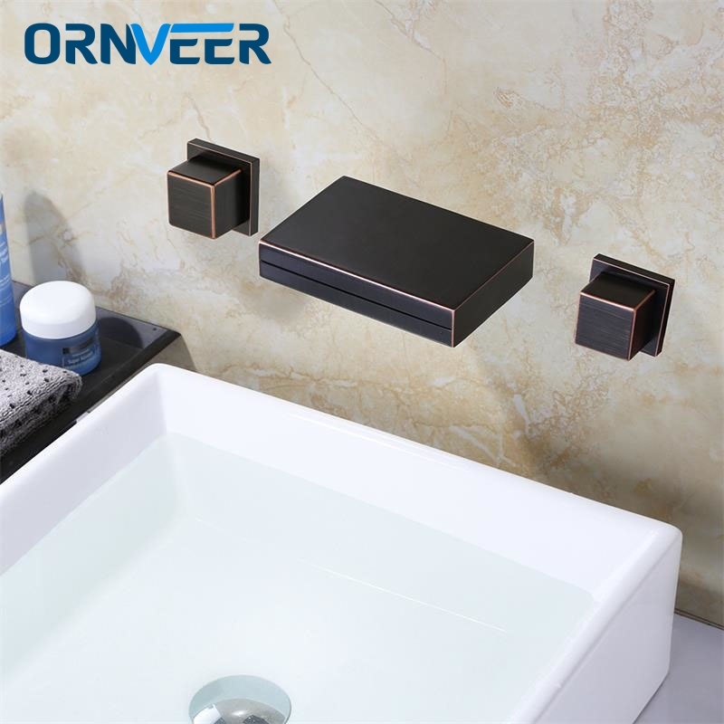 Oil Rubbed Bronze Double Handles Basin Mixer Faucet Tap Deck Mount 3 Hole Bathroom Hot Cold Water Tap