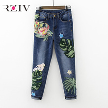 RZIV 2017 women jeans casual skinny jeans solid color Flowers embroidery jeans