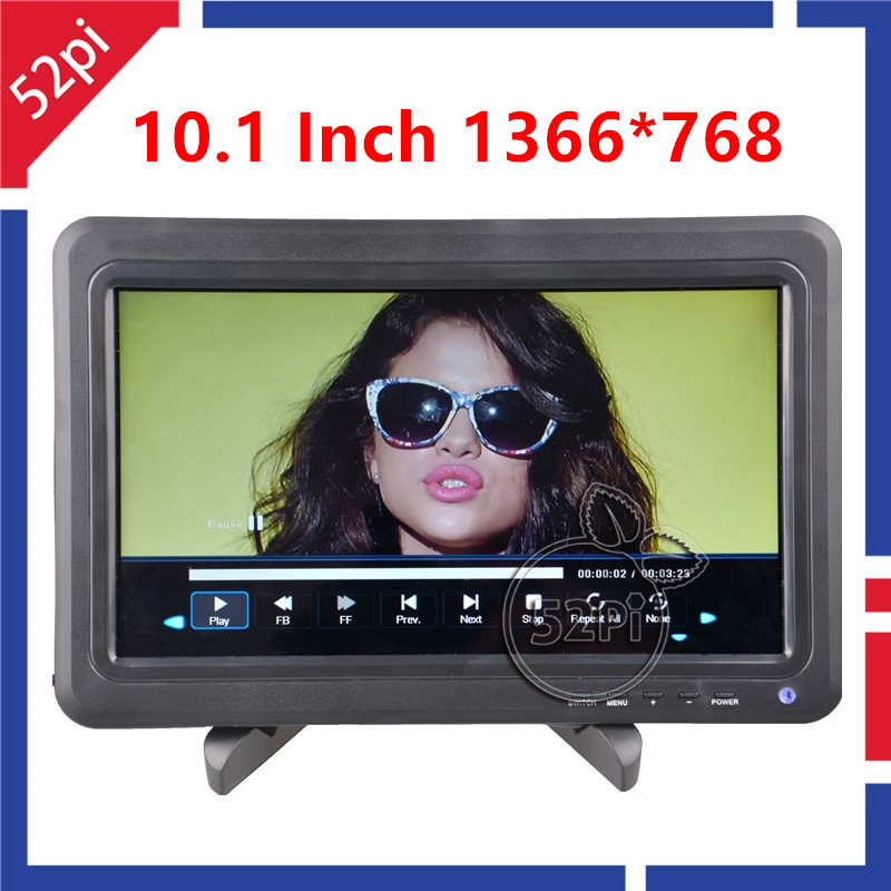 52Pi 10.1 inch LCD HDMI IPS 1366*768 Display Monitor Screen+Black Folding Bracket+Remote Controller for Raspberry Pi / Windows aputure digital 7inch lcd field video monitor v screen vs 1 finehd field monitor accepts hdmi av for dslr