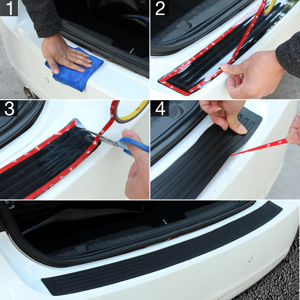 Image 5 - Car Rubber Rear Guard Bumper Protector Trim Cover Car Sticker Plate for Renault Sceni C1 2 C3 Modus Duster Logan Sandero-in Car Stickers from Automobiles & Motorcycles