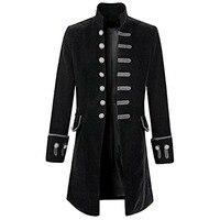 Men's Fashion Velvet Goth Steampunk Pure Color Frock Coat Slim Fit Retro Court Design Party Long Sleeve Stand Collar Blazer