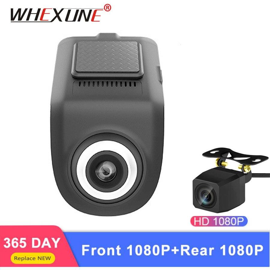 WHEXUNE USB Car DVR Camera hidden dual lens ADAS dash cam LDWS Driving Auto Digital Video Recorder 1080P For Android OS system