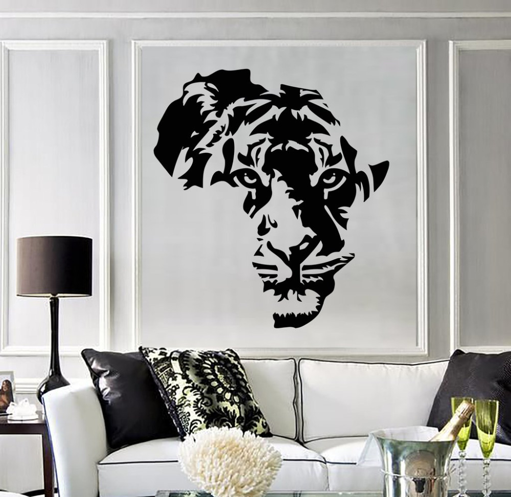 Tiger animal africa map wall stickers removable vinyl wall - Removable wall stickers living room ...