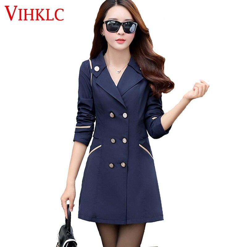 Double Breasted Md-long Trench Coat Women 2017 New Fashion Cloak Polerones Mujer Windbreaker Female Abrigo Plus Size A558