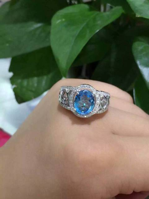 Natural blue topaz gem stone Ring Natural gemstone ring 925 sterling silver trendy big Luxury hollow women's girl gift Jewelry