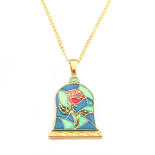 Movie Beauty and the Beast Necklace Rose Colored Enamel Flow