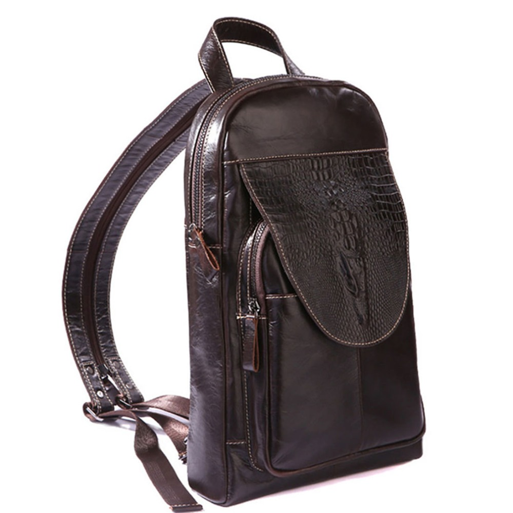 New Top Quality Genuine Leather Men Sling Chest Back Day Pack Travel Riding Casual fashion Cross Body Messenger Shoulder Bag yiang men s fashion genuine leather casual cross body shoulder bags men s messenger travel bag waist belt pack mobile phones bag