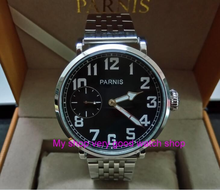 46mm parnis Black dial Asian 6497 17 jewels Mechanical Hand Wind movement men watch luminous Mechanical watches zdgd60a limited edition watch 50mm big dial parnis men s watch asian 6498 mechanical hand wind pvd black watchcase 84aa