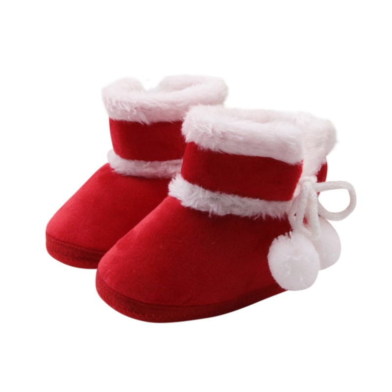 Baby Girls Boys Newborn Prewalker Shoes Claus Warm Casual Cute Christmas Infant Baby Red Kids Santa Style Comfortable Shoes