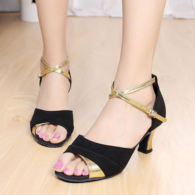 Women Lady Open Toe Ballroom Party Latin Tango Rumba Dance Shoes Mid Heeled 5.5cm Indoor Salsa Dancing Shoes Sandals