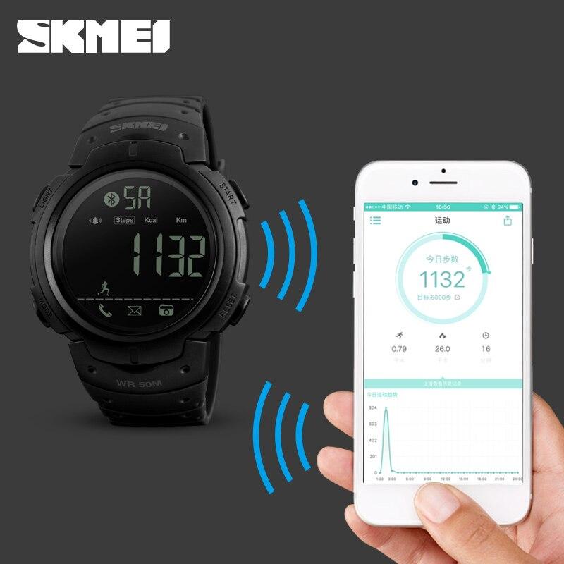 Del deporte reloj de los hombres SKMEI marca podómetro remoto de la Cámara de calorías Bluetooth Smartwatch recordatorio Digital Relojes