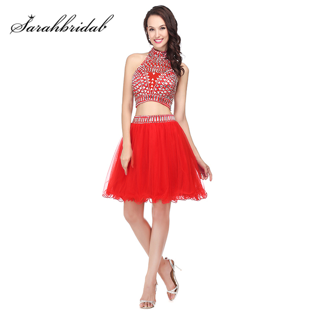 a0a31f84fbd Sexy 2017 Coral Short Cocktail Dresses Beads Crystal 2 Piece Gala Dress  Cheap High Neck Homecoming Party Gowns Original Picture