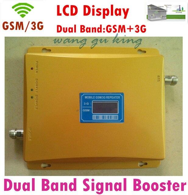 Display LCD! Dual Band GSM 900 3G GSM 2100 Sinal de Telefone Celular UMTS impulsionador 2100 MHZ GSM e 3G Repetidor Amplificador + Power adaptador