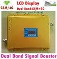 Pantalla LCD CALIENTE 3G W-CDMA 2100 MHz GSM 900 Mhz de Doble Banda Teléfono celular Amplificador de Señal GSM 900 2100 UMTS Repetidor de Señal amplificador