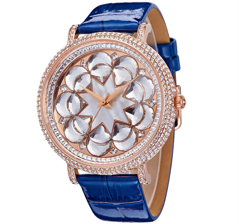 Luxury Full SWA Crystal Floral Watches 45MM Big Size Women Dress Wrist watch Real Leather Shell Analog Relogio 3ATM Montre Femme stylish cami full floral women s bodycon dress