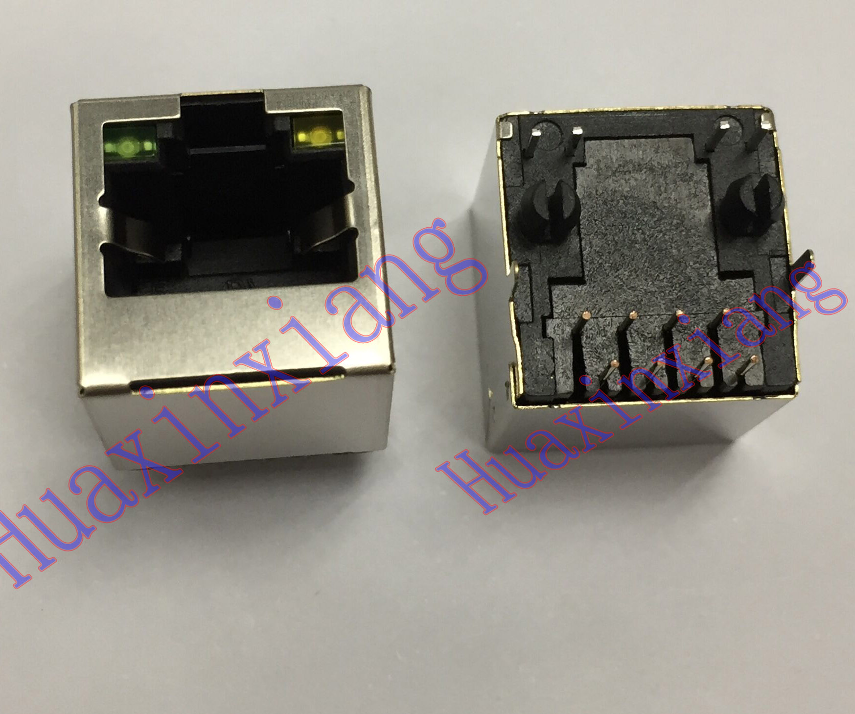 20PCS/Lot Steel Shield <font><b>RJ45</b></font> 8P8C <font><b>Jack</b></font> Connector With LED 180 Degree vertical Network Internet Modular image