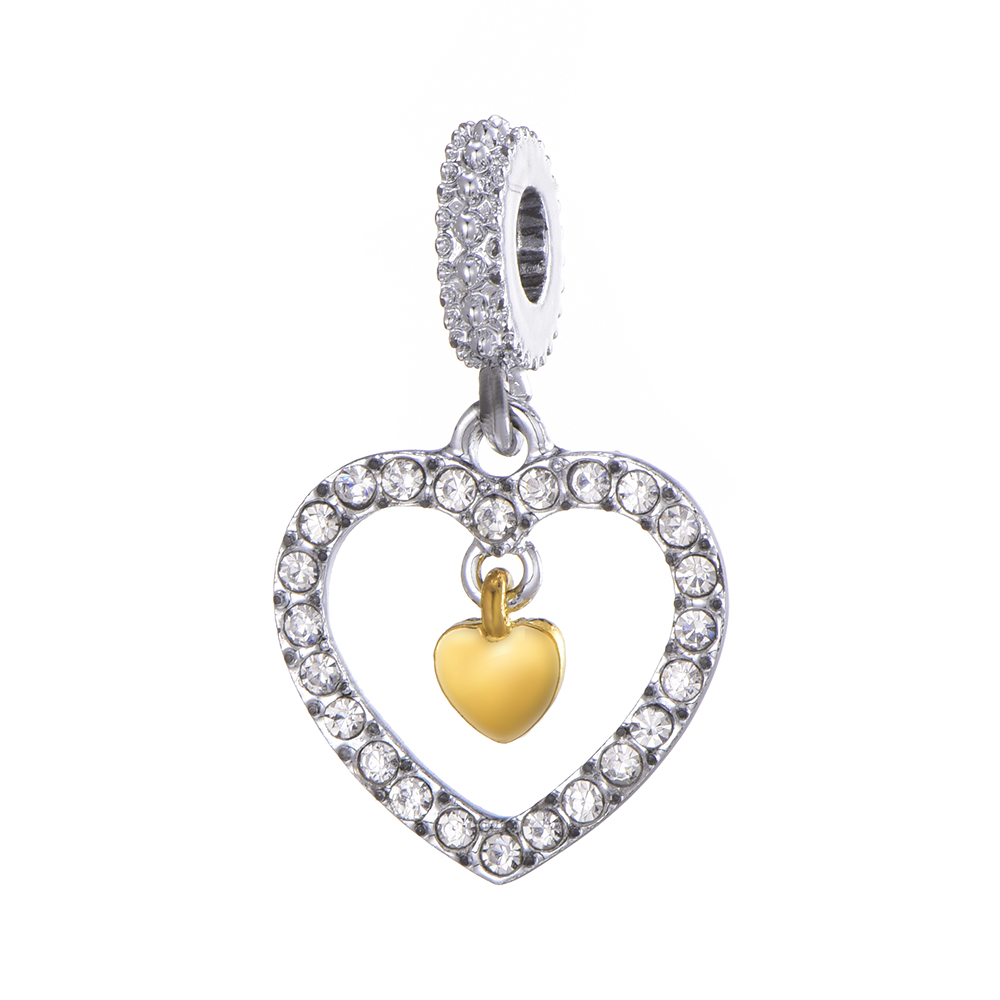 HOMOD 2019 New Silver Plated Big Hollow Heart Pendant Charms Fits Brand Bracelet Jewelry Accessories in Charms from Jewelry Accessories