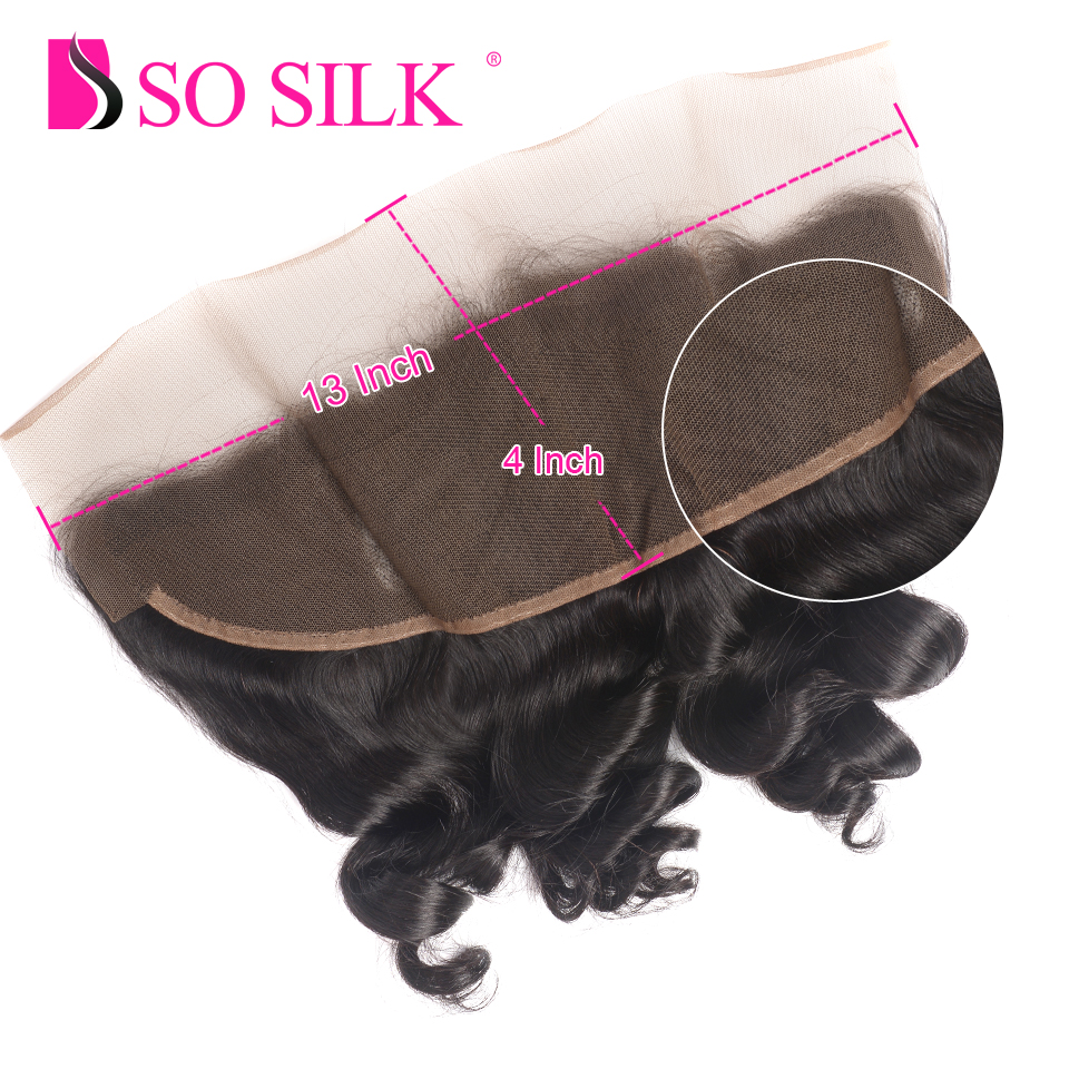 13x4 Loose Wave Pre-Plucked Lace Frontal Closure With Baby Hair Ear To Ear 100 % Brazilian Remy Human Hair Weave So Silk Hair