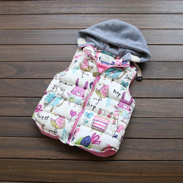 Novo 2016 Do Bebê Veste Casaco Meninas Pouco desenhos animados do coelho impressão espessamento colete Com Capuz atacado