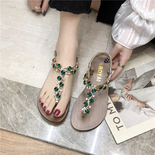 HKCP New 2019 summer flat toe buckle sandals for women - Korean version with rhinestone Bohemian beach shoes C219