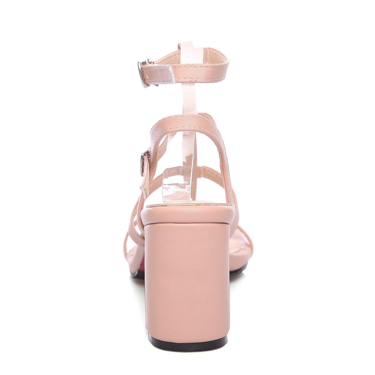 Femmes Chaussures Boucle Taille Sandales rose D'été Nemaone Grande Occasionnels Talons Femme Dames blanc Hauts Sexy 43 Bleu 34 Nouvelle bfy6g7