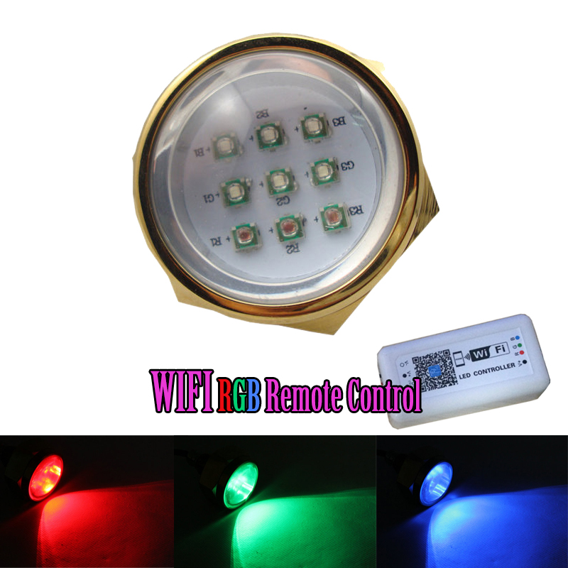 New WIFI Remote Control RGB Color Change 27W 9*3W Led Drain PLug Underwater Light IP68 Waterproof Multi-Color WIFI Phone Control best quality waterproof ip68 rgb multi color remote control induction charge led table light tubes