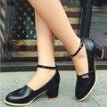 AA344 Ankle Strap Women Pumps Metal Charm Round toe Pumps Med Heels Shoes Woman Spring Pumps Size 33-43 School Women Shoes 2016