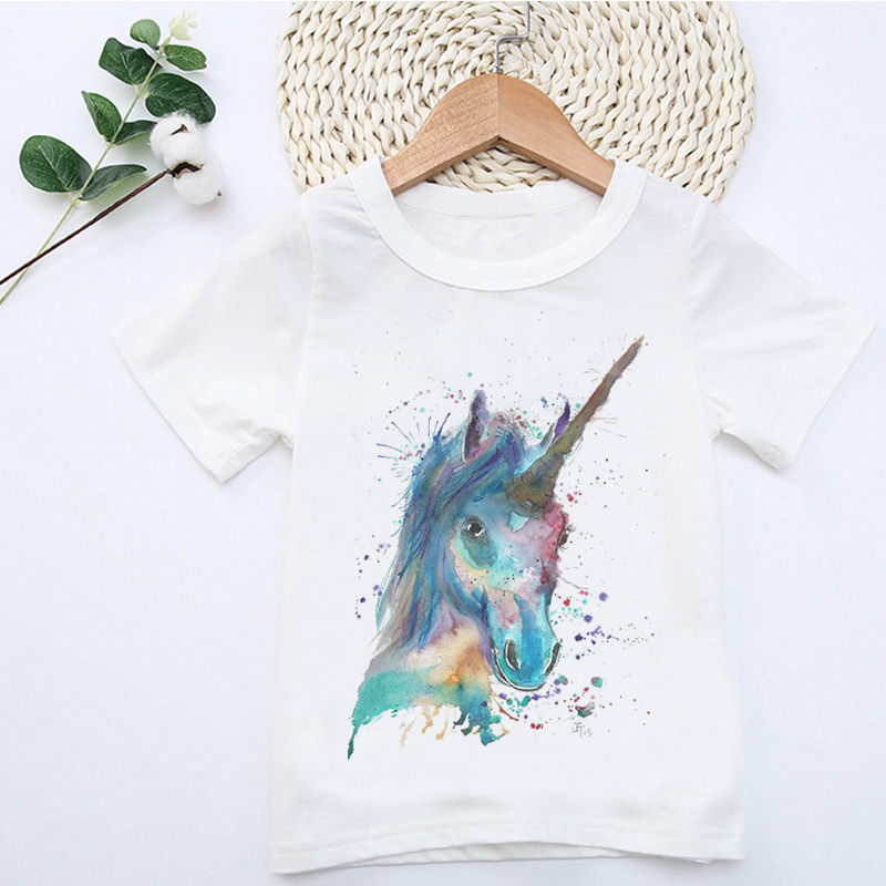 2019 Summer Horse Animal Print Boys Tshirt Fashion Harajuku Girls Tops Cute Cartoon Comfortable O-Neck Short Sleeve T Shirt Kids