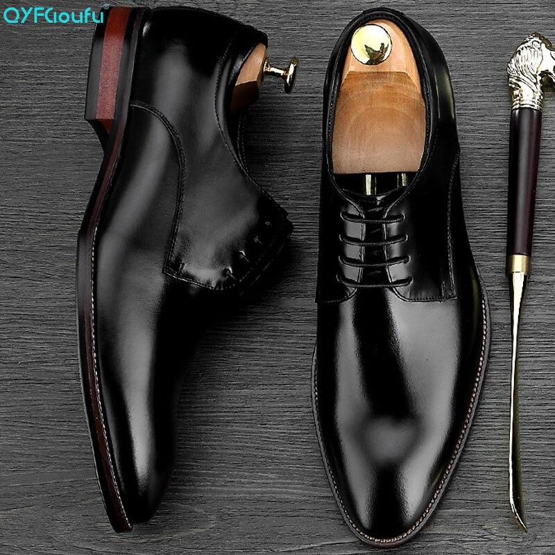 QYFCIOUFU Hot lace-up Oxford Shoes Classic Handmade Bespoke Mens Dress Flat Wedding Office Designer formal shoes