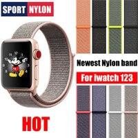 Наручные часы ремешок нейлоновый ремешок для Apple Watch Series 3 2 1 38 мм 42 мм флэш Спортивная петля браслет и ткань нейлон ремешки для часов