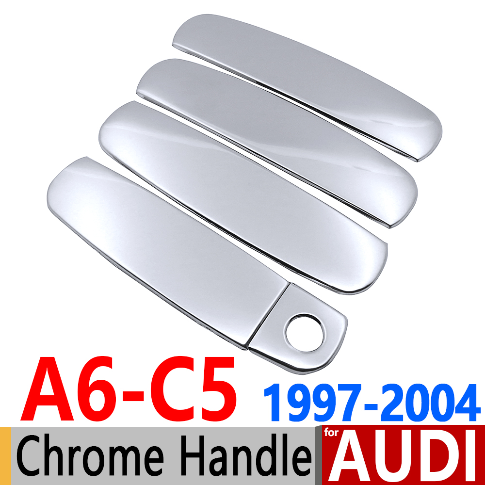 for Audi A6 C5 4B Chrome Door Handle Covers Stainless Steel Accessories 1997 1998 1999 2000 2001 2002 2003 2004 Car Styling car armrest central store content storage box for audi a6 c5 1998 1999 2000 2001 2002 2003 2004 2005auto center console armrests