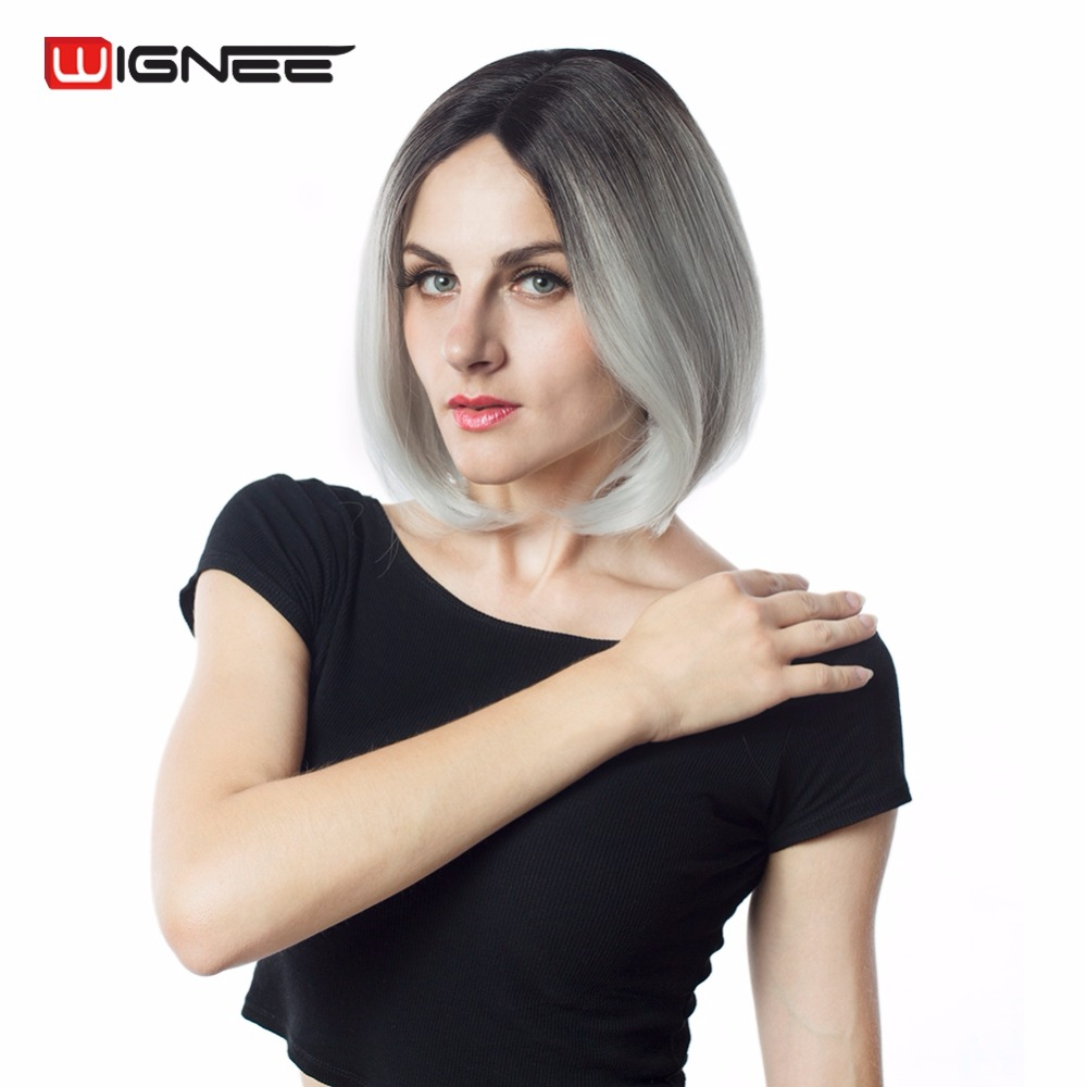 Wignee Lace Front Synthetic Wigs 2 Tone Ombre Grey Short Straight Hair Bob Wigs For Black / White Women Middle Part Cosplay Hair