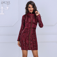 Adyce 2017 Spring New Arrive Luxury Deep Red And Lace Flower Mini Dress Stand Neck Long
