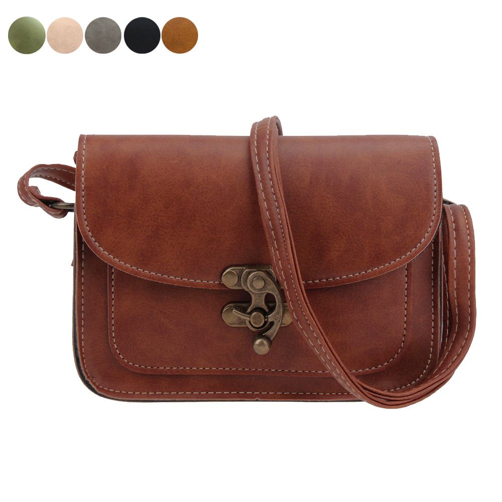 Vintage Women Lock Small Messenger Bag PU Leather Single Strap Crossbody Shoulder Bags LXX9