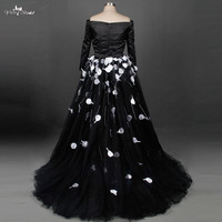 TW0202 Fashionable Special Design Black Wedding Dress 2018 Ball Gown Romantic Tulle Bride Dress Custom Made