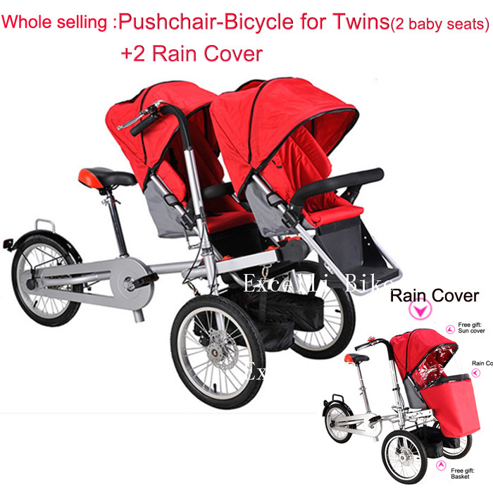 Execelli Folding Mother Bicycle 2 Baby Seats 3 in 1 Mother Bike Baby Strollers Double Seats+ 2 Rain Cover Convertible Pushchair