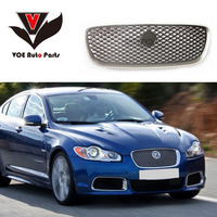 For Jaguar XF 2008 2018 Car styling ABS Front Hood Racing Grill Grille Cover Trim Auto Replacement Part Silver/Black