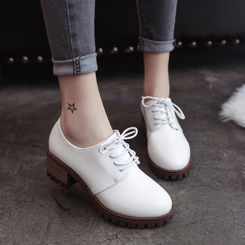 New Sweet Womens Mid-Heel Block Heel Mary Jane Shoes Woman College Wind Casual Shoes Lov ...
