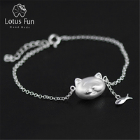 Lotus Fun Real 925 Sterling Silver Natural Mother of Pearl Handmade Fine Jewelry Lovely Greedy Cat And Fish Bracelet for Women