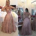 Pastel Rosa Lace Illusion Backless Pavimento Length Prom Dress Com As Costas Abertas Vestido De Festa