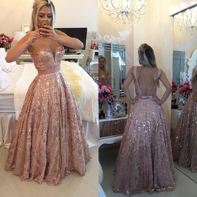 Rosa Pastel de Encaje Ilusión Piso-Longitud Sin Respaldo Vestido de Fiesta Con Espalda Abierta Vestido De Festa